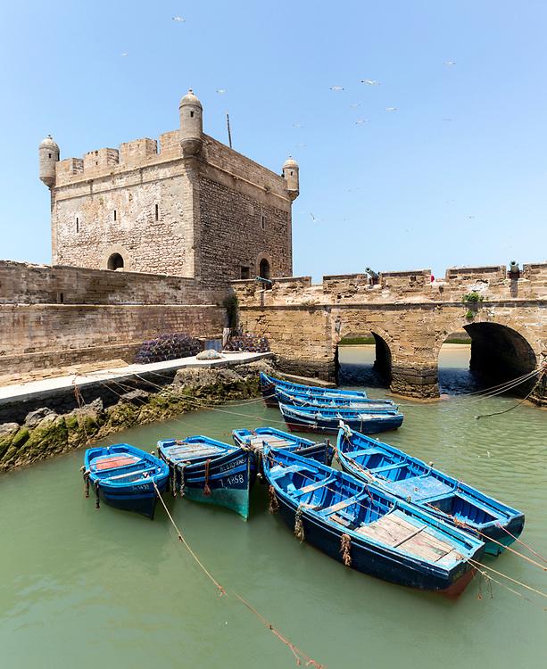 ESSAOUIRA, MOROCCO May 09th 2018 - Skala de la kasbah rampart architecture, Southern Morocco