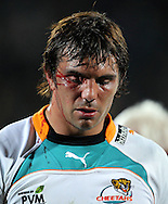 Francois Uys leaves the field with a ripped eye-lid..Investec Super Rugby - Highlanders v Cheetahs, 8 April 2011, Carisbrook Stadium, Dunedin, New Zealand..Photo: Rob Jefferies / www.photosport.co.nz