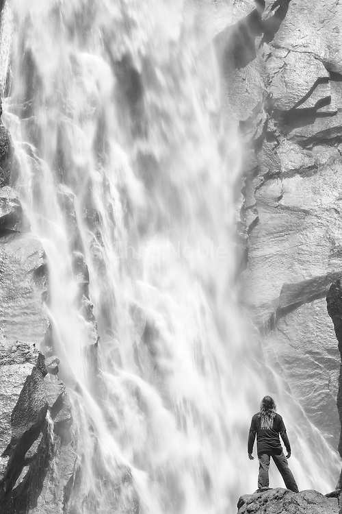 Climber and Sacred Rok Founder Ron Kauk experiencing the power and beauty of nature at Cascade Falls in Yosemite