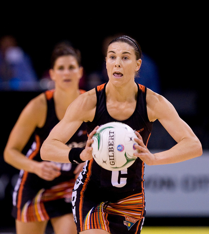 Tactix's Maree Bowden passes the ball against the Southern Steel in the ANZ Netball Championship, CBS Arena, Christchurch, New Zealand, Sunday, April 15, 2012. Credit:SNPA / Dianne Manson