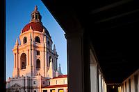 Sunrise Alpenglow on Italian Renaissance-style Dome of Pasadena City Hall, California