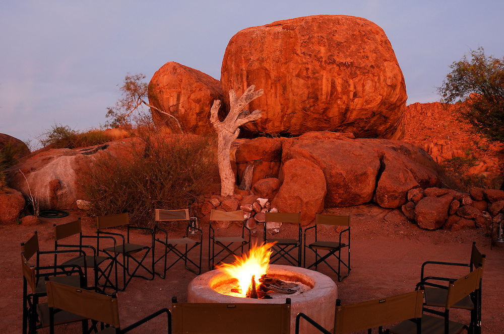 Bonfire at Mowani Mountain Lodge, Damaraland, Kunene Region, Namibia