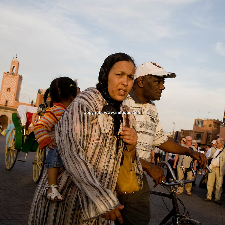 Morocco , Marrakech ,Jama Al Fnaa square in the old city medina