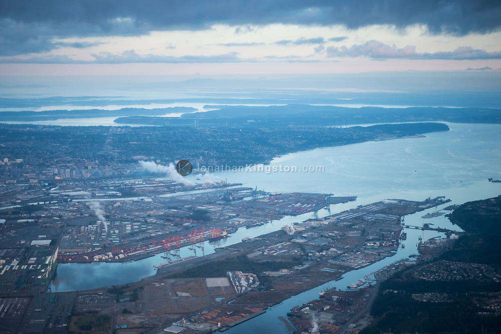 Aerial view of the port of Tacoma, Washington at sunrise.