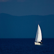 Lonley Sailboat on Lake Tahoe, CA