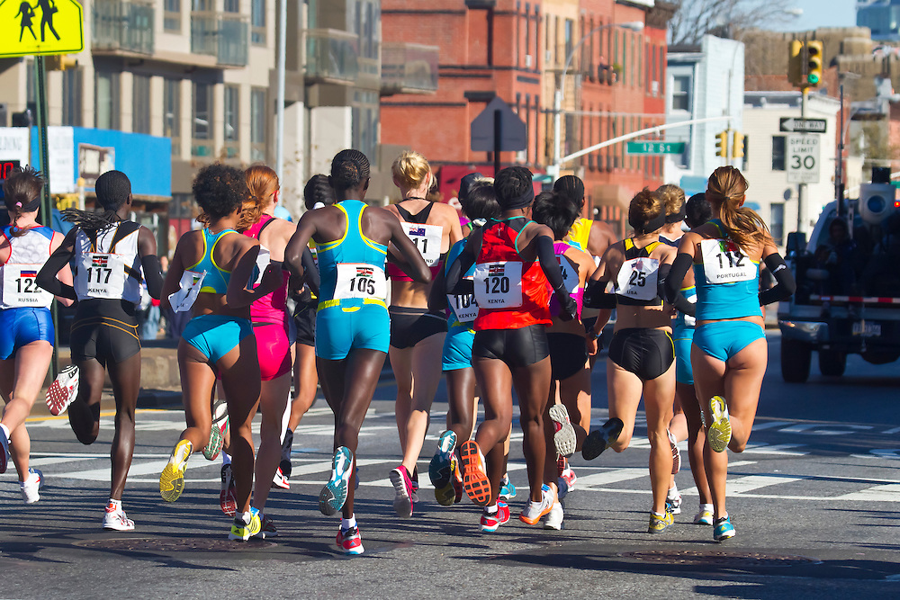 Women's lead pack. New York City Marathon, 2010. Had to try this rear view, the light was much better.