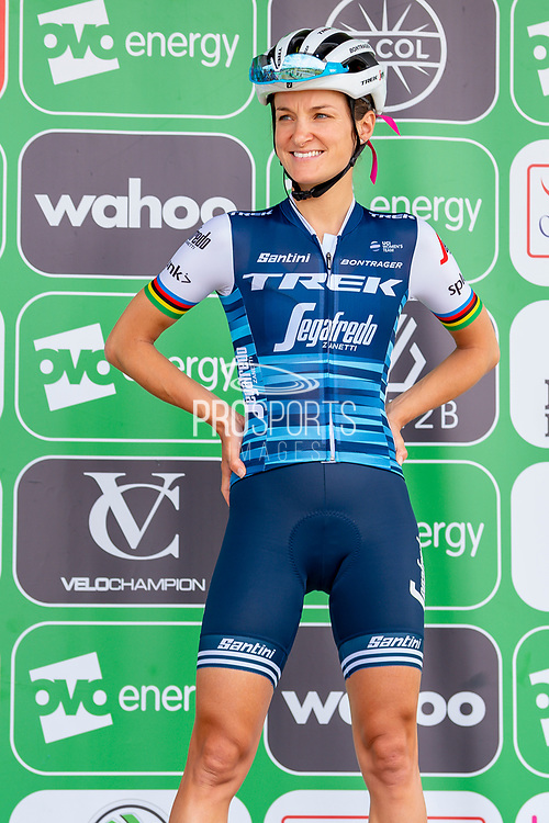 Lizzie Deignan (GBR) riding for Trek-Segafredo on the podium after signing-on before the OVO Energy Women's Tour 2019 at Cyclopark, Gravesend, United Kingdom on 11 June 2019.