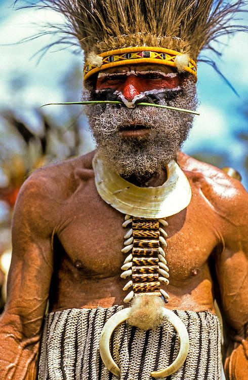 Papua New Guinea, Western Highlands Province, Mt. Hagen Cultural Show, old man. Mt. Hagen Cultural Show,Western Highlands Province, Papua New Guinea