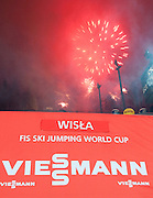 Fireworks while medal ceremony during FIS World Cup Ski Jumping in Wisla...Poland, Wisla, January 09, 2013...Picture also available in RAW (NEF) or TIFF format on special request...For editorial use only. Any commercial or promotional use requires permission...Photo by © Adam Nurkiewicz / Mediasport
