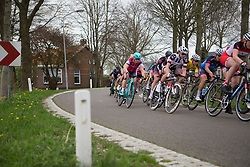 The main peloton tackles a corner during the second lap of Stage 3 of the Healthy Ageing Tour - a 154.4 km road race, between  Musselkanaal and Stadskanaal on April 7, 2017, in Groeningen, Netherlands.