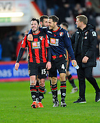 AFC Bournemouth defender Adam Smith and AFC Bournemouth midfielder Dan Gosling after the final whistle at the Barclays Premier League match between Bournemouth and Norwich City at the Goldsands Stadium, Bournemouth, England on 16 January 2016. Photo by Graham Hunt.