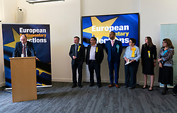 Edinburgh, Scotland, UK. 27 May, 2019. The six new Scottish MEPs are declared at the City Chambers in Edinburgh, SNP's Alyn Smith, Christian Allard and Aileen McLeod, Louis Stedman-Bruce from the Brexit Party, Sheila Ritchie of the Liberal Democrats and Baroness Nosheena Mobarik of the Conservatives. Pictured new Maps at the declaration
