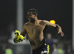 Birmingham City's Tom Adeyemi scores the winning penalty and celebrates   - Photo mandatory by-line: Alex James/JMP - Tel: Mobile: 07966 386802 25/08/2013 - SPORT - FOOTBALL - Cardiff City Stadium - Cardiff -  Cardiff City V Manchester City - Barclays Premier League