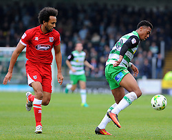 Joshua Gowling of Grimsby Town applies pressure on Tahvon Campbell of Yeovil Town - Mandatory by-line: Nizaam Jones/JMP - 29/10/2016/ - FOOTBALL - Hush Park - Yeovil, England - Yeovil Town v Grimsby Town - Sky Bet League Two
