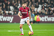 West Ham United Midfielder Robert Snodgrass (11) in action during the Premier League match between West Ham United and Fulham at the London Stadium, London, England on 22 February 2019.