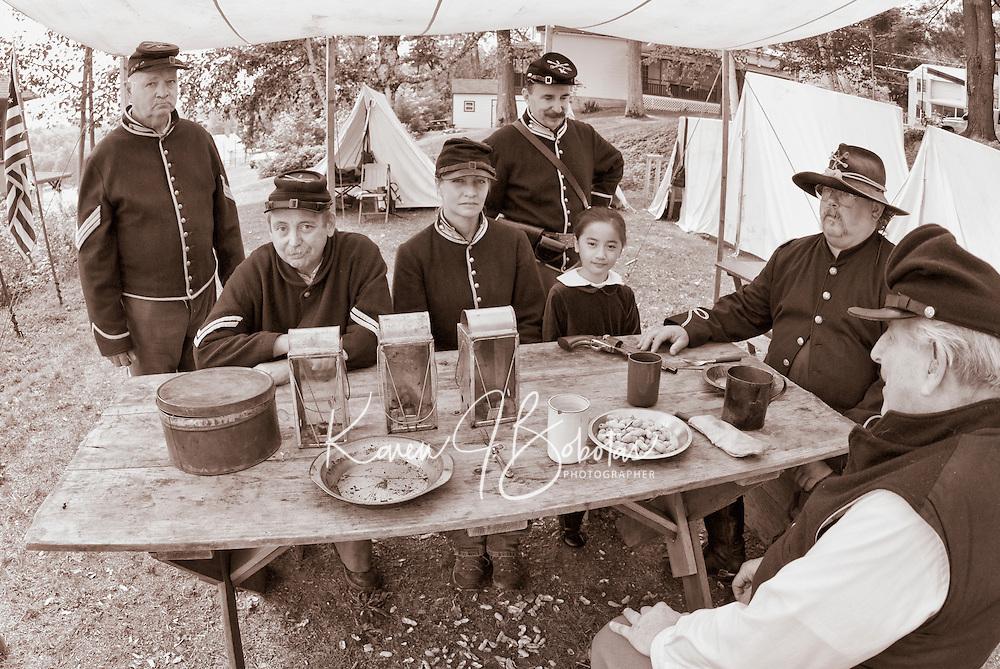 Ist NH Cavalry Civil War Encampment at the Veterans Association compound in Weirs Beach, NH August 14, 2011.
