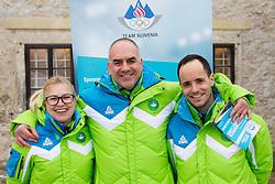 Nina Jovan, Ziga Dobnikar and Matic Svab during presentation of Team Slovenia for European Youth Olympic Festival - EYOF Brasov 2013 on February 13, 2013 in Bled, Slovenia. (Photo By Vid Ponikvar / Sportida)