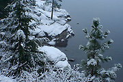 A fresh snow coveres the rocks on Tubbs Hill, Coeur D Alene Idaho. PLEASE CONTACT US FOR DIGITAL DOWNLOAD AND PRICING.