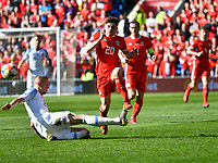 Football - 2018 / 2019 Euro Championship 2020 qualifying round. Wales v SLOVAKIA <br /> <br /> Daniel James of Wales brought down by  Denis Vavro who receives a yellow card <br /> at Cardiff City Stadium<br /> <br /> COLORSPORT/WINSTON BYNORTH