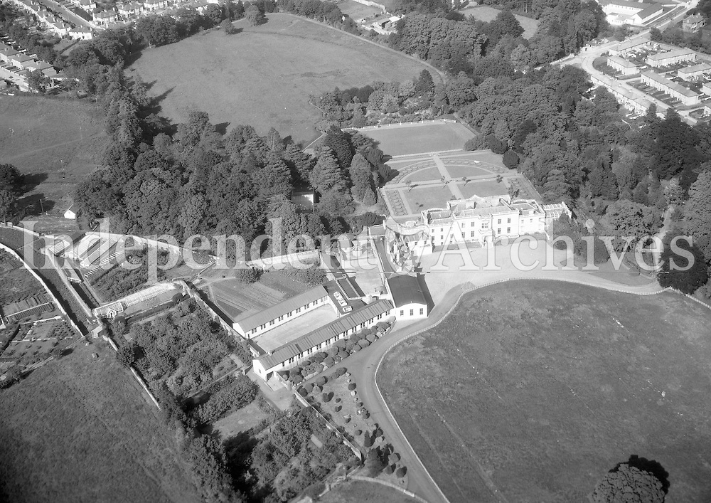 A368 St Helen's, Booterstown C.B.S.   20/01/56 (Part of the Independent Newspapers Ireland/NLI collection.)<br /> <br /> <br /> These aerial views of Ireland from the Morgan Collection were taken during the mid-1950's, comprising medium and low altitude black-and-white birds-eye views of places and events, many of which were commissioned by clients. From 1951 to 1958 a different aerial picture was published each Friday in the Irish Independent in a series called, 'Views from the Air'.The photographer was Alexander 'Monkey' Campbell Morgan (1919-1958). Born in London and part of the Royal Artillery Air Corps, on leaving the army he started Aerophotos in Ireland. He was killed when, on business, his plane crashed flying from Shannon.