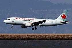 Airbus A320-214 (C-GJVT) operated by Air Canada landing at San Francisco International Airport (KSFO), San Francisco, California, United States of America
