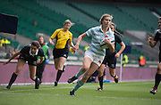 Twickenham, United Kingdom. Laura GIBSON running in the touch down in the first half of the 2015 Women's Varsity Match, Oxford vs Cambridge, RFU Twickenham Stadium, England.<br /> <br /> Thursday  10/12/2015<br /> <br /> [Mandatory Credit. Peter SPURRIER/Intersport Images].