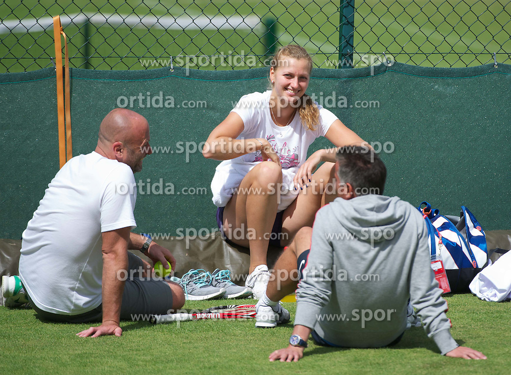 01.07.2011, Wimbledon, London, GBR, WTA Tour, Wimbledon Tennis Championships, im Bild  Petra Kvitova (CZE) with her two coaches during a practice session ahead of her first Grand Slam Final match on day eleven of the Wimbledon Lawn Tennis Championships at the All England Lawn Tennis and Croquet Club. EXPA Pictures © 2011, PhotoCredit: EXPA/ Propaganda/ David Rawcliffe +++++ ATTENTION - OUT OF ENGLAND/UK +++++