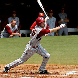 June 06, 2011; Tallahassee, FL, USA; Alabama Crimson Tide second baseman Josh Sanders (35) flies out to end the seventh inning of the Tallahassee regional of the 2011 NCAA baseball tournament against theFlorida State Seminoles as play resumed following the suspension of play due to severe weather last night at Dick Howser Stadium. Mandatory Credit: Derick E. Hingle