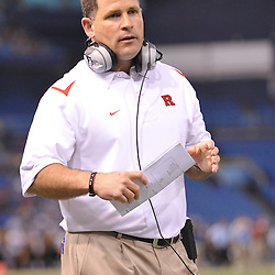 Dec 19, 2009; St. Petersburg, Fla., USA; Rutgers head coach Greg Schiano watches play during NCAA Football action in Rutgers' 45-24 victory over Central Florida in the St. Petersburg Bowl at Tropicana Field.