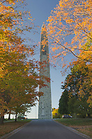 Bennington Battle Monument framed in golden fall foliage, Bennington, Vermont
