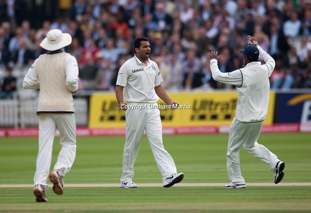 Zaheer Khan celebrates taking the wicket of Alastair Cook during the first npower Test Match between England and India at Lord's Cricket Ground, London.  Photo: Graham Morris (Tel: +44(0)20 8969 4192 Email: sales@cricketpix.com) 21/07/11