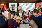he Labour leader Jeremy Corbyn signing autographs for Islington school children at Arsenal's Emirates Stadium in London where he spoke at the Show Racism the Red Card event highlighting race issues and how children can address them. Emirates Stadium, London. United Kingdom. 8th February 2018.  (photo by Andrew Aitchison / In pictures via Getty Images)