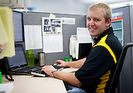 UI graduate and former intern Tyler Kleene at Genencor in Cedar Rapids on Friday July 24, 2009.  (Stephen Mally/Freelance)