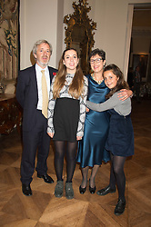 Left to right, CHARLES CARDOZO, MISS COCO CARDOZO, JULIA CARDOZO daughter of Anna Del Conte and MISS KATE CARDOZO at a reception in honour of Anna del Conte held at The Italian Emabssy, Grosvenor Square, London on 9th November 2015.