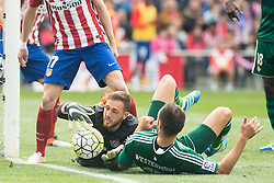 02.04.2016, Estadio San Mames, Bilbao, ESP, Primera Division, Athletic Club vs Real Betis, 31. Runde, im Bild Atletico de Madrid's Jan Oblak and Real Betis's Westermann // during the Spanish Primera Division 31th round match between Athletic Club and Real Betis at the Estadio San Mames in Bilbao, Spain on 2016/04/02. EXPA Pictures © 2016, PhotoCredit: EXPA/ Alterphotos/ Borja B.Hojas<br /> <br /> *****ATTENTION - OUT of ESP, SUI*****