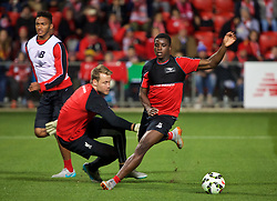 ADELAIDE, AUSTRALIA - Sunday, July 19, 2015: Liverpool's Sheyi Ojo beats goalkeeper Simon Mignolet during a training session at Coopers Stadium ahead of a preseason friendly match against Adelaide United on day seven of the club's preseason tour. (Pic by David Rawcliffe/Propaganda)