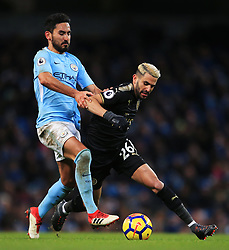 Riyad Mahrez of Leicester City akes on Ilkay Gundogan of Manchester City - Mandatory by-line: Matt McNulty/JMP - 10/02/2018 - FOOTBALL - Etihad Stadium - Manchester, England - Manchester City v Leicester City - Premier League