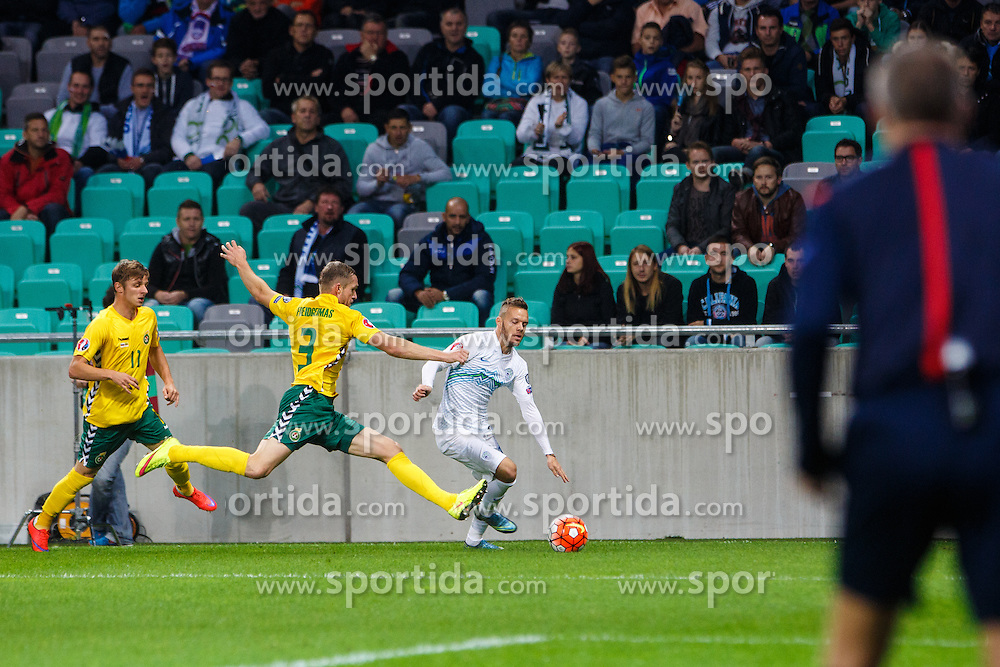 Dejan Lazarevic of Slovenia and Georgas Freidgeimas of Lithuania during the EURO 2016 Qualifier Group E match between Slovenia and Lithuania, on October 9, 2015 in SRC Stozice, Ljubljana Slovenia. Photo by Grega Valancic / Sportida