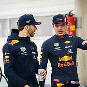 NLD/Zandvoort/20190518 - Jumbo Racedagen 2019, Pierre Gasly en Max Verstappen worden geinterviewd