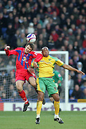London - Tuesday, January 1st, 2008: Matt Lawrence (L) of Crystal Palace and Dion Dublin (R) of Norwich City during the Coca Cola Championship match at Selhurst Park, London. (Pic by Mark Chapman/Focus Images)