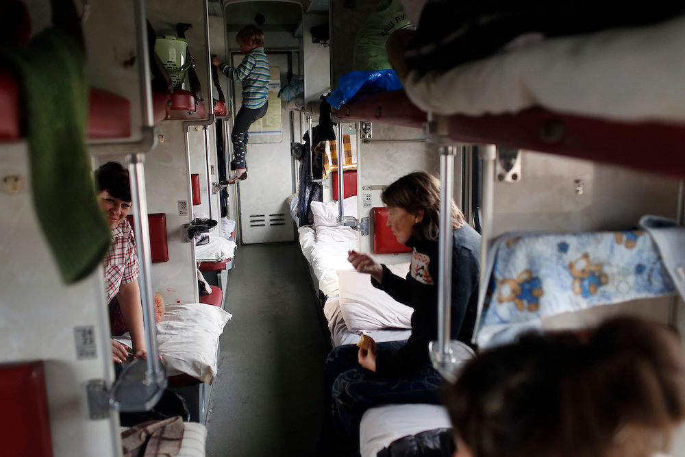 Internally displaced people are seen on a train that has been converted into a temporary shelter on February 9, 2015 in Slavyansk, Ukraine.