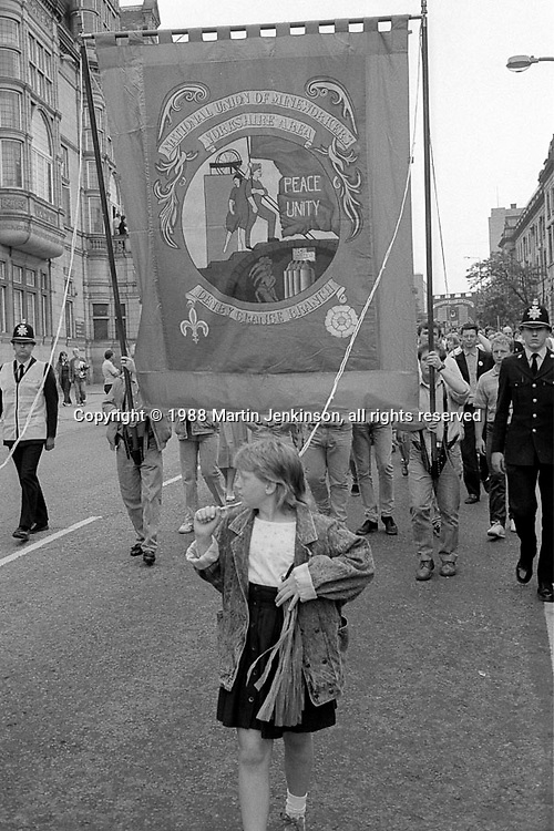 Denby Grange banner. 1988 Yorkshire Miner's Gala. Wakefield.