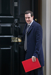 © Licensed to London News Pictures. 15/03/2016. London, UK. Chancellor of the Exchequer George Osborne leaves Number 11 Downing Street. Tomorrow Mr Osborne will present his budget to Parliament. Photo credit: Peter Macdiarmid/LNP