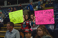 KELOWNA, CANADA - SEPTEMBER 20: Fans show their support for Riley Stadel #3 of Kelowna Rockets on September 20, 2014 at Prospera Place in Kelowna, British Columbia, Canada.   (Photo by Marissa Baecker/Shoot the Breeze)  *** Local Caption *** Riley Stadel;