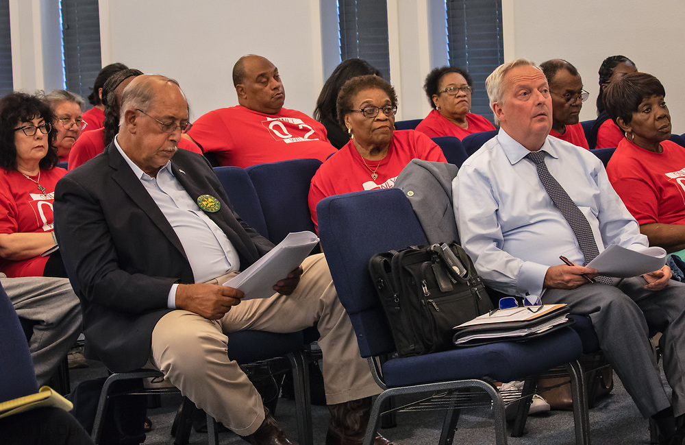 Mary Hampon in middle of photo, to her left Russel Honere and in front of her, s David Gray, EPA's Region 6 Deputy Regional Administrator at a Concerned Citenzs Meeting.