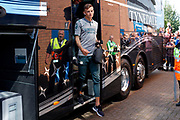 Leeds United defender Ben White (5), on loan from Brighton & Hove Albion, arrives during the EFL Sky Bet Championship match between Wigan Athletic and Leeds United at the DW Stadium, Wigan, England on 17 August 2019.