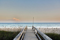 Beach, Emerald Isle, Sunset, Ocean, Deck, Walkway