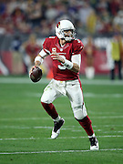 Arizona Cardinals quarterback Carson Palmer (3) scrambles to his right as he looks to pass in the fourth quarter during the NFL NFC Divisional round playoff football game against the Green Bay Packers on Saturday, Jan. 16, 2016 in Glendale, Ariz. The Cardinals won the game in overtime 26-20. (©Paul Anthony Spinelli)