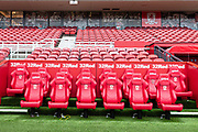 A general view of home dugout at The Riverside Stadium ahead of the EFL Sky Bet Championship match between Middlesbrough and Charlton Athletic at the Riverside Stadium, Middlesbrough, England on 7 December 2019.