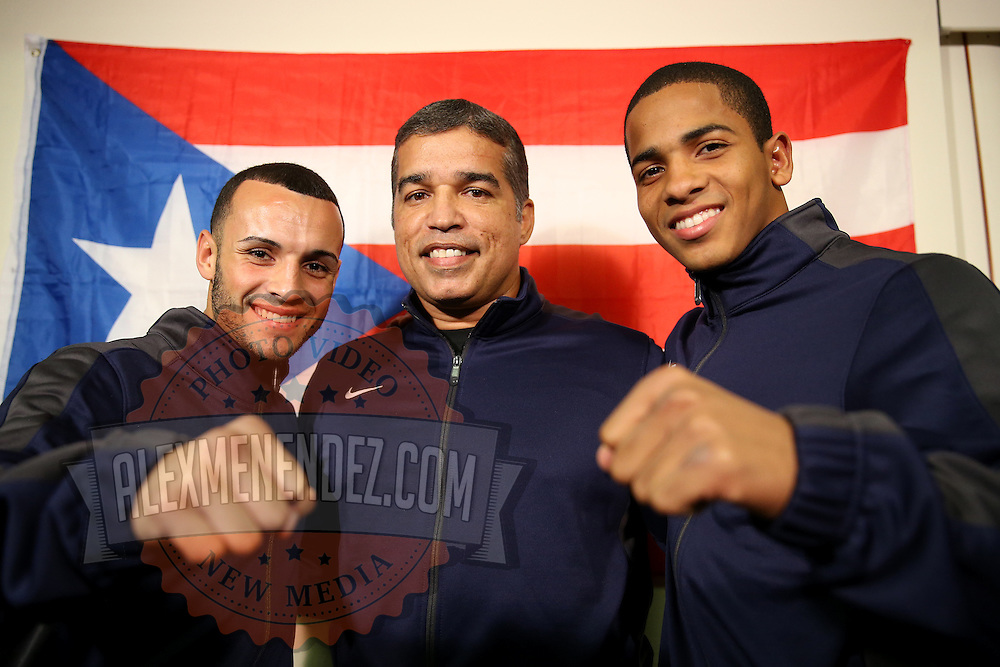 ORLANDO, FL - OCTOBER 04: (LR) Boxer Christopher Diaz, trainer Ricardo Marquez and boxer Felix Verdejo of Puerto Rico pose during their arrival prior to a professional boxing match at the Bahía Shriners Auditorium & Events Center on October 4, 2014 in Orlando, Florida. (Photo by Alex Menendez/Getty Images) *** Local Caption *** Felix Verdejo; Christopher Diaz; Ricardo Marquez